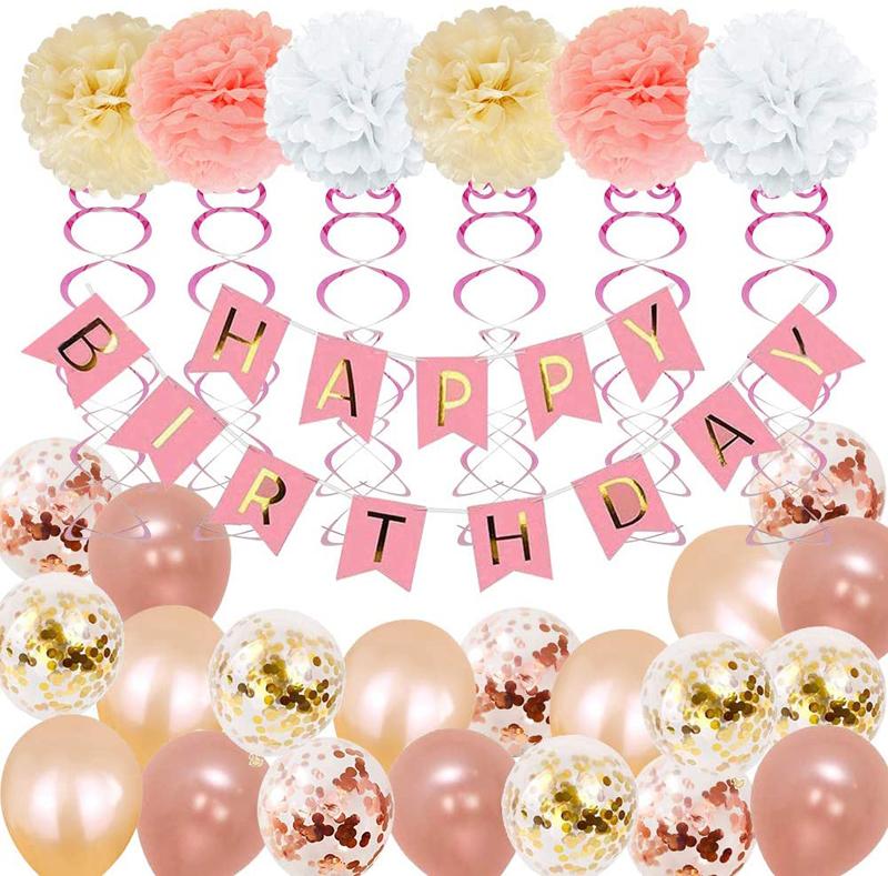 Birthday Party Supplies for girl and women include 52Pcs Banners Rose Gold Balloons, China Rose Gold birthday, party decorations wholesale