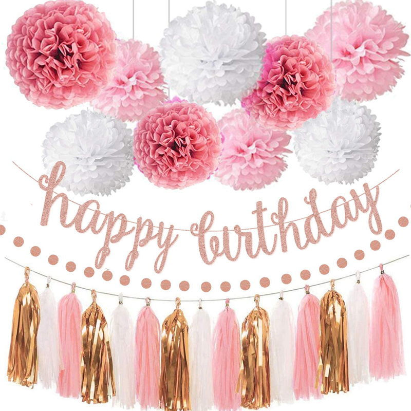 Pink Rose Gold Birthday Party Decorations Set Rose Gold Glittery Happy Birthday banner, China birthday tassel garland, birthday decorations wholesale