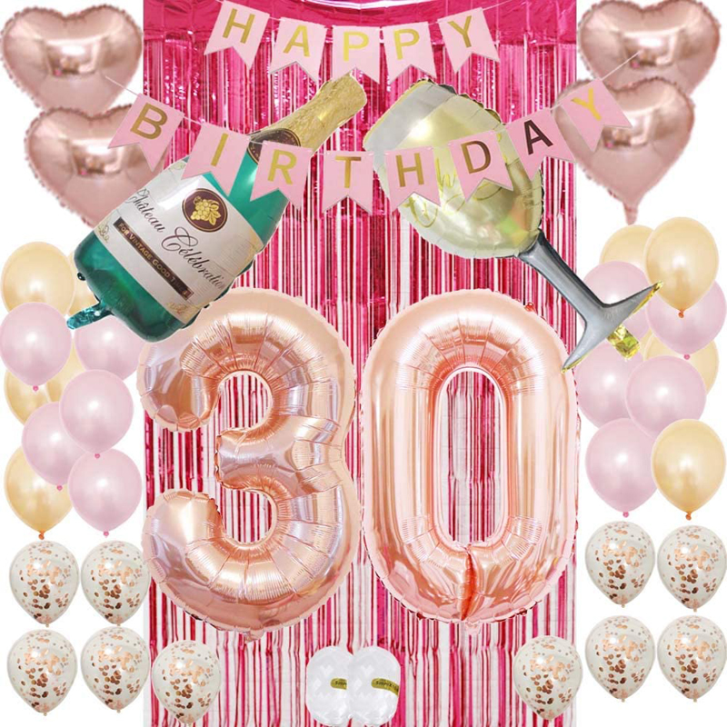 30th Birthday Decorations Party Supplies Kit  Birthday Gifts for Womens Champagne Bottle Balloon Set, China Women 30th Birthday, Party Supplies Kit wholesale