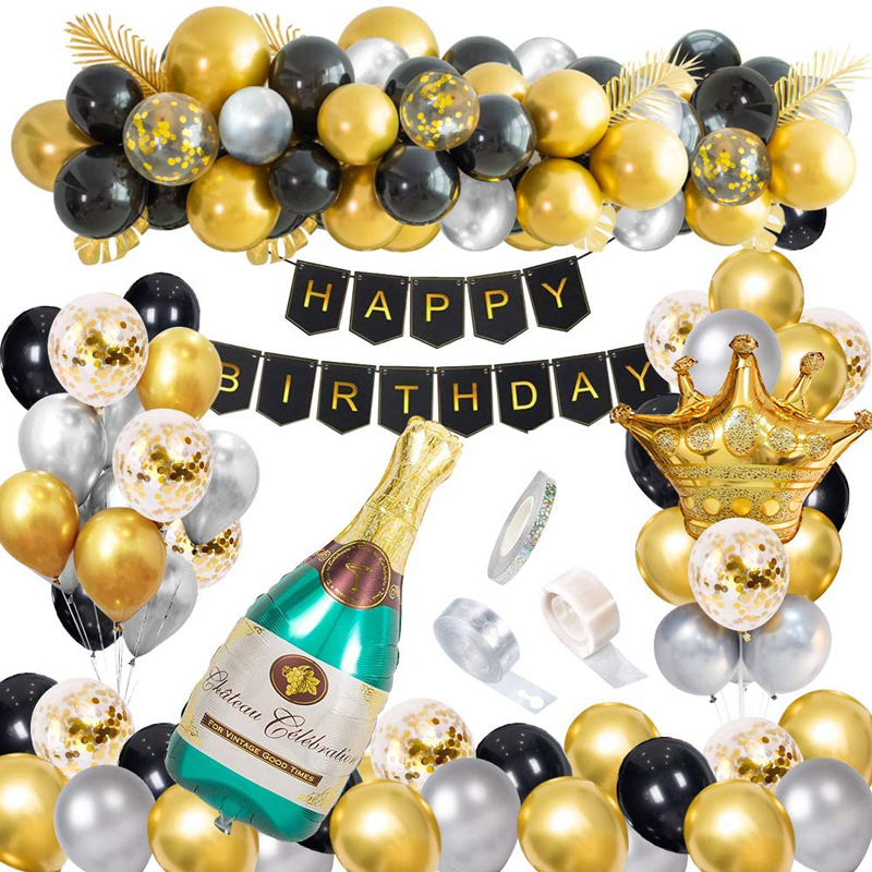 Happy Birthday Party Confetti Latex Balloons Black and Gold Party Decorations, China Happy Birthday Party, Black Gold balloons wholesale
